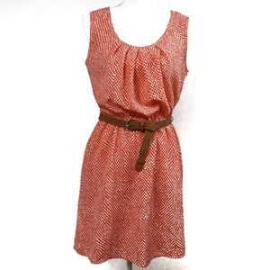 T579 A. Byer Red and White Belted Dress Size M